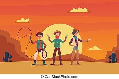 caricatura, vaqueiros, caráteres, paisagem, oeste selvagem, experiência., pôr do sol, três