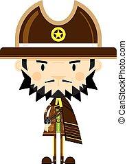 caricatura, vaquero, alguacil, con, arma de fuego