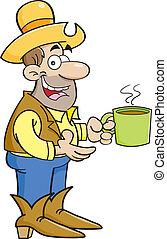 caricatura, vaquero, con, taza de café