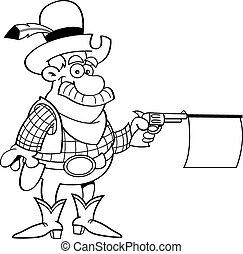 caricatura, vaquero, disparando, un, arma de fuego, con