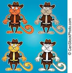 caricatura, vaquero, gato, con, arma de fuego, vector