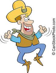 caricatura, vaquero, saltar, con, dos, thu