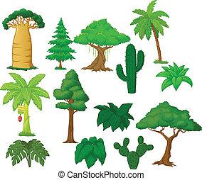 caricatura, vario, colección, árbol