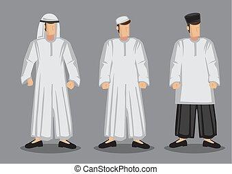 caricatura, vector, carácter, musulmán, ilustración del...