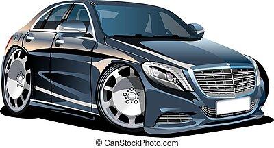 caricatura, vector, coche