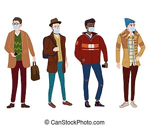 caricatura, vector, ilustración médica, moda, ropa de calle, clothes., máscara, protección, niebla tóxica, joven, estilo, casual, virus, plano, moderno, estudiantes, individuo, vapor., cubrir, otoño, moderno, conjunto, aislado, character., calle