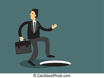 caricatura, vector, ilustración negocio, agujero, distraído, inconsciente, hombre, profesional