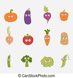 caricatura, vegetal, lindo