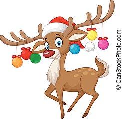caricatura, venado, con, pelota de navidad