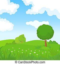 caricatura, verano, paisaje, con, árboles verdes, y, nubes blancas, en, azul, sky., bosque, parque, panorámico, vector, plano de fondo