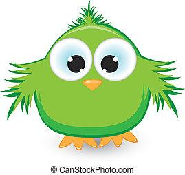 caricatura, verde, pardal