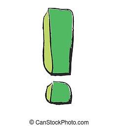 caricatura, verde, ponto de exclamação
