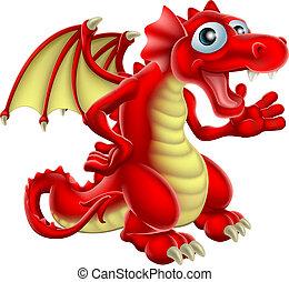 caricatura, vermelho, dragão