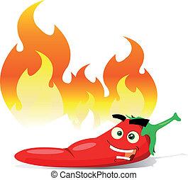 caricatura, vermelho quente, pimenta pimentão