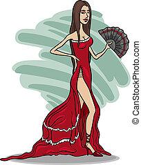 caricatura, vestido, mulher, vermelho, bonito