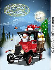 caricatura, vetorial, caminhão, retro, cartão natal