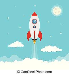 caricatura, vetorial, espaçamento, lançamento foguete