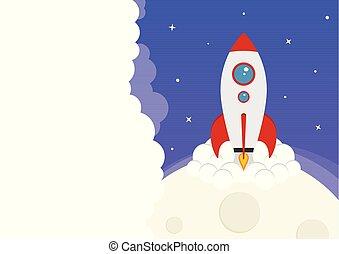 caricatura, vetorial, foguete espacial, lançamento