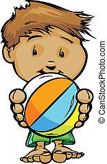 caricatura, vetorial, ilustração, de, um, cute, criança, em, piscina, ou, praia, com, mãos, segurando, esfera praia