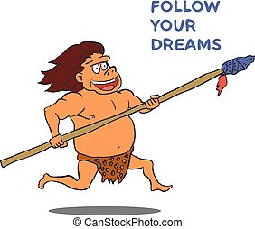 caricatura, vetorial, personagem, spear., macho, caveman