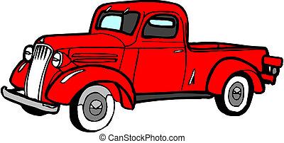 caricatura, vetorial, pickup