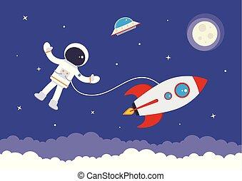 caricatura, vetorial, spaceman, anexado, para, um, foguete