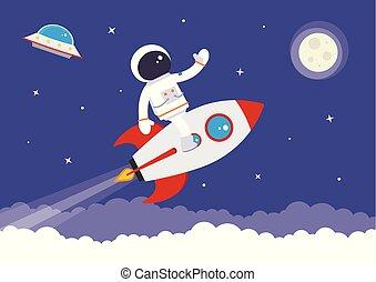 caricatura, vetorial, spaceman, ligado, um, foguete