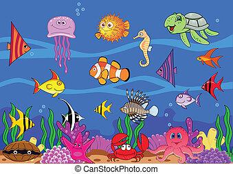 caricatura, vida mar