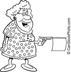 caricatura, vieja, disparando, un, arma de fuego, ingenio