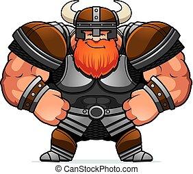 caricatura, viking, confiado