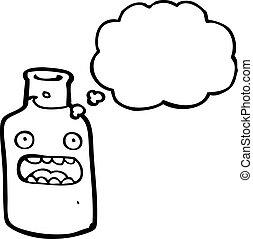 caricatura, vino blanco, botella
