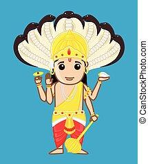 caricatura, vishnu, -, indio, dios, vector