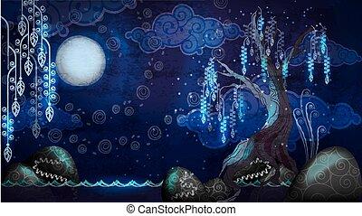 caricatura, vista marina, con, luna, y, árbol