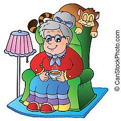 caricatura, vovó, sentando, em, poltrona