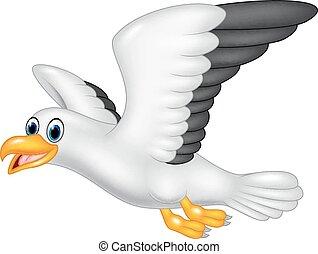 caricatura, vuelo, aislado, gaviota