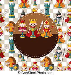 caricatura, xadrez, cartão