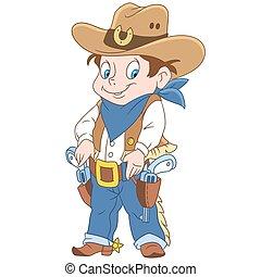 caricatura, xerife, menino