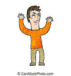 caricatura, zangado, homem