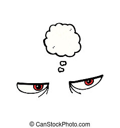 caricatura, zangado, olhos