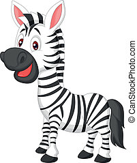 caricatura, zebra, lindo