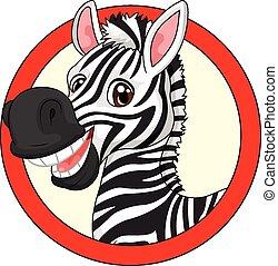 caricatura, zebra, mascota, lindo