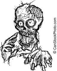 caricatura, zombi
