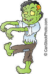 caricatura, zombie, tema, imagem, 1