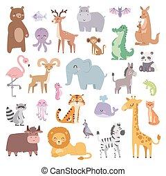 caricatura, zoo, animales, grande, conjunto, fauna, mamífero, plano, vector, illustration.