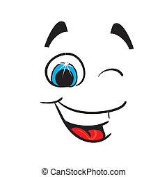 caricature., 快乐, 矢量, 描述
