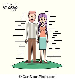 caricature couple people line bearded man and woman with braided pigtails hair standing casual clothes in grass on white background