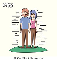 caricature couple people line bearded man and woman with collected hair standing casual clothes in grass on white background