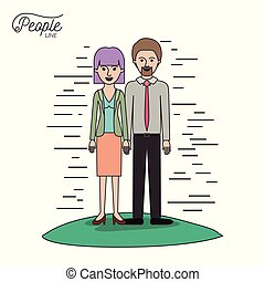 caricature couple people line bearded man and woman with straight short hair standing formal clothes in grass on white background