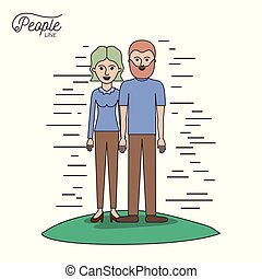 caricature couple people line bearded man and woman with wavy short hair standing casual clothes in grass on white background
