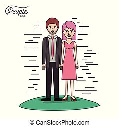 caricature couple people line bearded man in formal suit and woman with straight short hair in dress standing in grass on white background